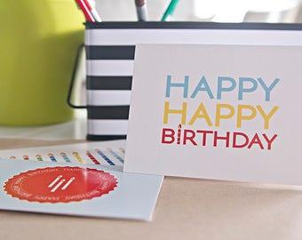 10 Happy Happy Birthday Cards (Blank)