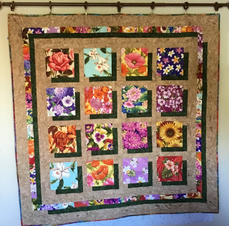 Homemade Quilts For Sale >> Flowers In Shadows Quilts Quilts For Sale Homemade Quilts Etsy