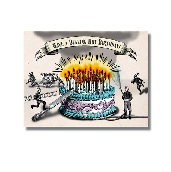 Funny Birthday Cake Card Firemen Birthday You Are So Old Etsy