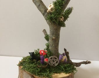 Cat and skulls tree, witch , wiccan