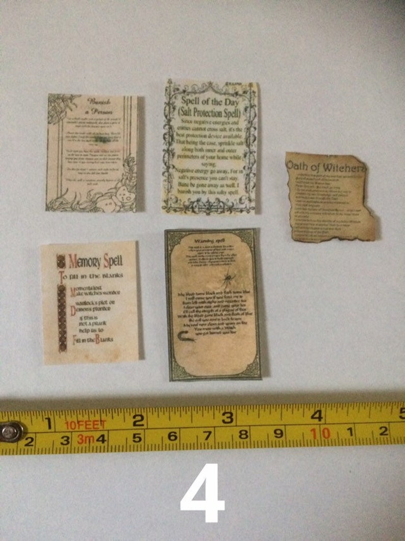 Dollhouse miniature 1:12 scale Halloween Witchcraft Dark Magic Spell Books 3 pcs