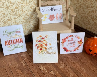 1/12 scale dolls house miniature accessories set of 4 autumn fall sayings posters