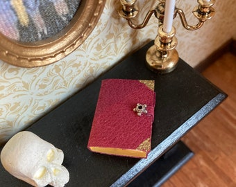 1/12 scale dolls house miniature accessories leather covered handmade book witch wizard library
