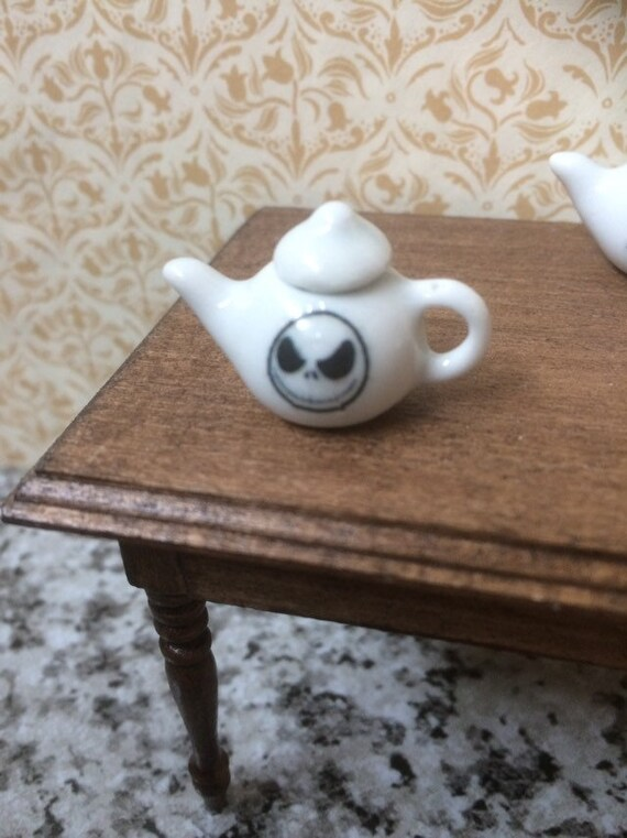 Mini Handcrafted Ceramic Halloween Bats Place Setting 1:12 Dollhouse Miniatures