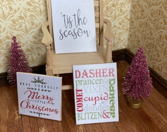 1/12 scale dolls house miniature accessories Xmas Christmas set of 3 pictures sayings