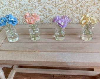 """1/12 scale dolls house miniature accessories pastel flowers in jars of """"water"""""""