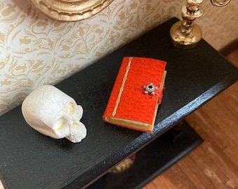 1/12 scale dolls house miniature accessories leather covered handmade book wizard witch