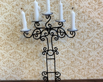 1/12 scale dolls house miniature tall floor standing gothic candelabra