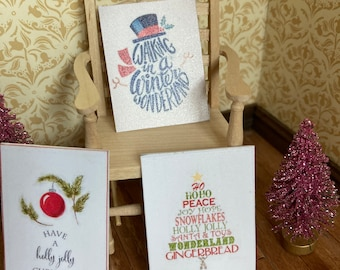 1/12 scale dolls house miniature accessories set of 3 Christmas Xmas pictures sayings