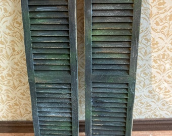 1/12 scale dolls house miniature aged weathered distressed window shutters