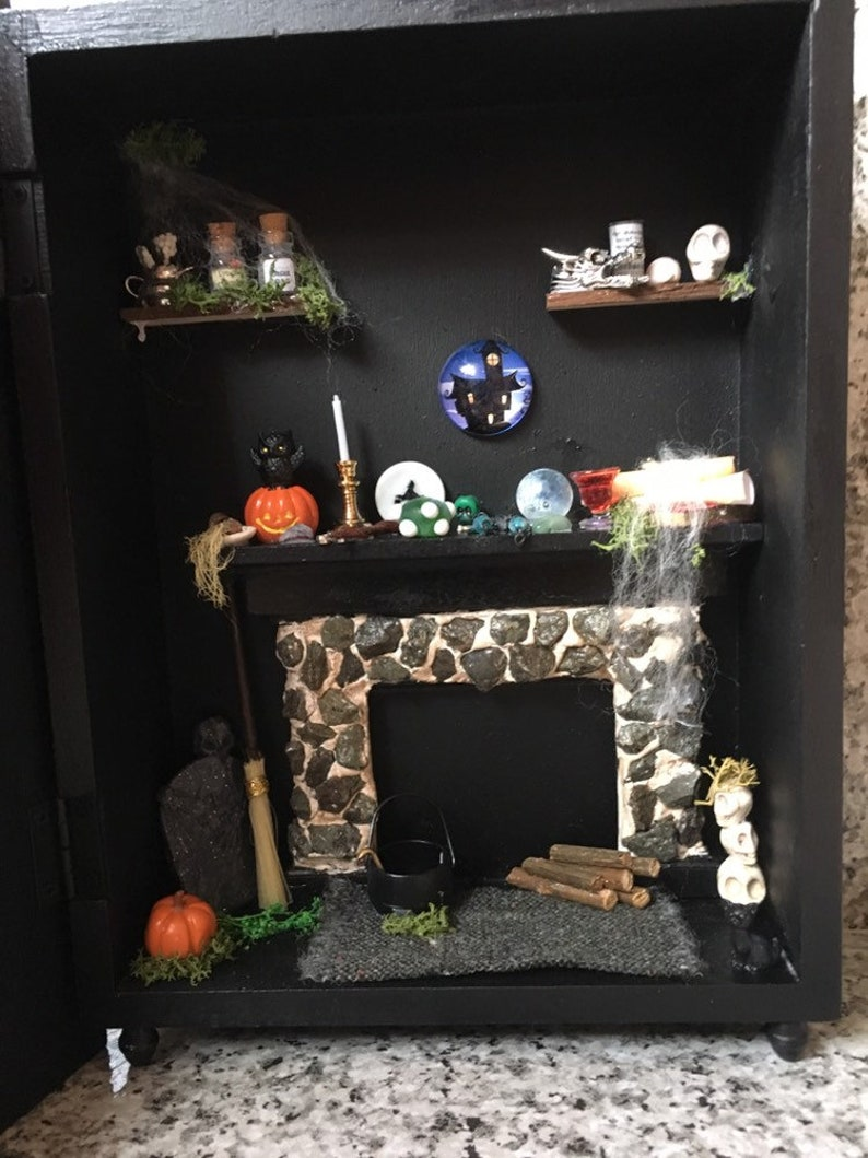 Witch Room cupboard with 1/12 scale items ooak miniatures handmade halloween