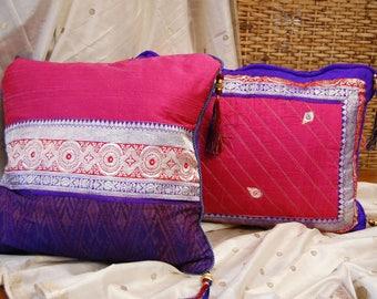 Hand made Pillows Pair Sari Silks Thai Silk Matmee Ikat Dupioni Tassels Peach Magenta Royal Purple Quilted Metallic Brocade