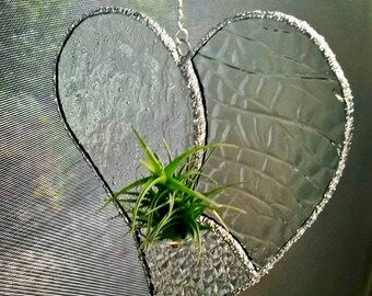 Stained Glass Air Plant Holder - Clear Textured Heart Design