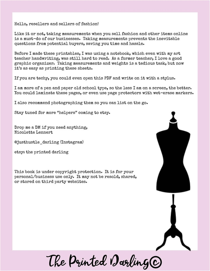 The Measurement Helper: Printables for Fashion and Hard Goods