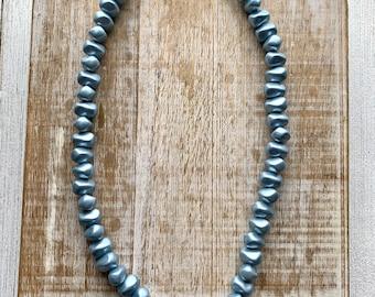 Vintage Rosecraft Blue Necklace Beaded Necklace Vintage Blue Acrylic Necklace Blue Chunky Pinup Necklace