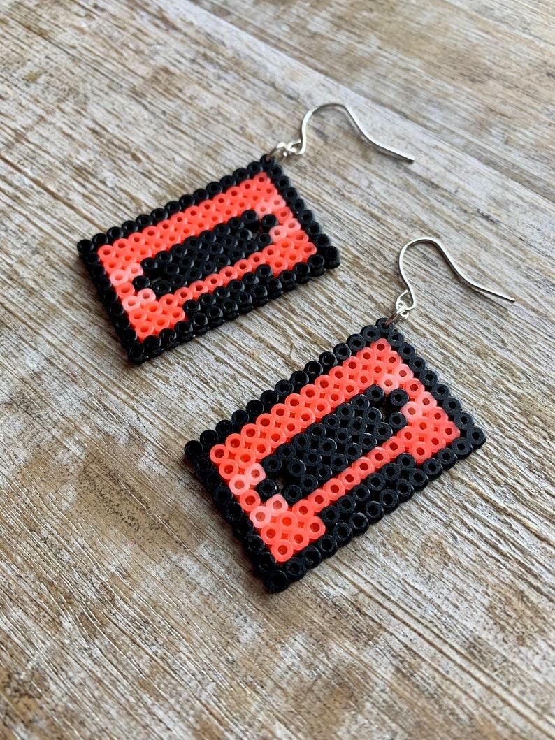 Retro Cassette Earrings Hipster Music Earrings Pixel Earrings 1990s Cassette Car Music Earrings Nostalgic Earrings 90s Jewelry Gift