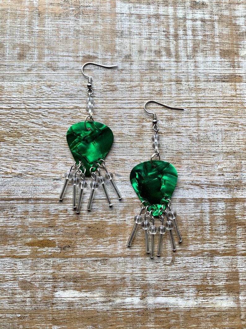Southwest Style Earrings Green Western Guitar Pick Earrings Dangle Green Earrings Earthy Lightweight Earrings Guitar Pick Tassel Earrings