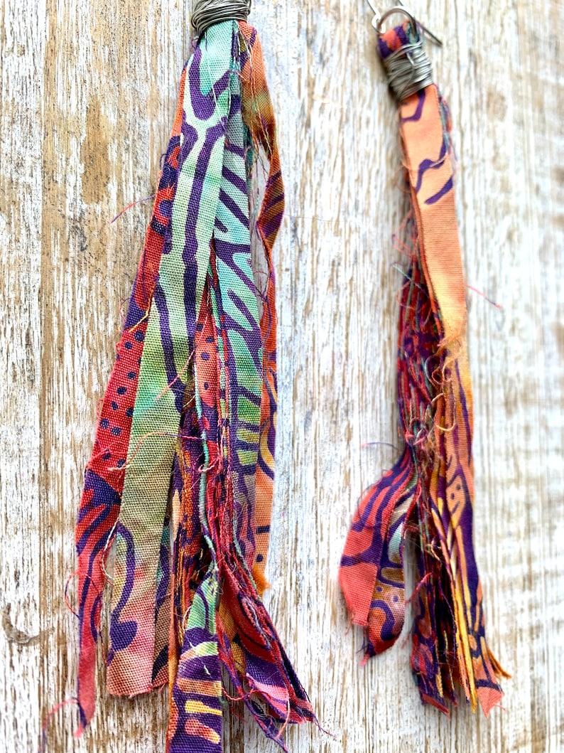 Fabric Tassel Earrings Boho Hippie