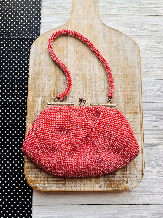 Vintage 1940s Red Bag Vintage Beaded Purse Vintage