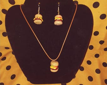 925 silver Cheeseburger Necklace with Earrings