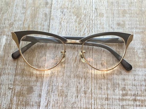 Vintage Cat Eyeglasses Gold Glasses Gold & Black C