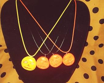 Creepy Halloween Pumpkin Necklace