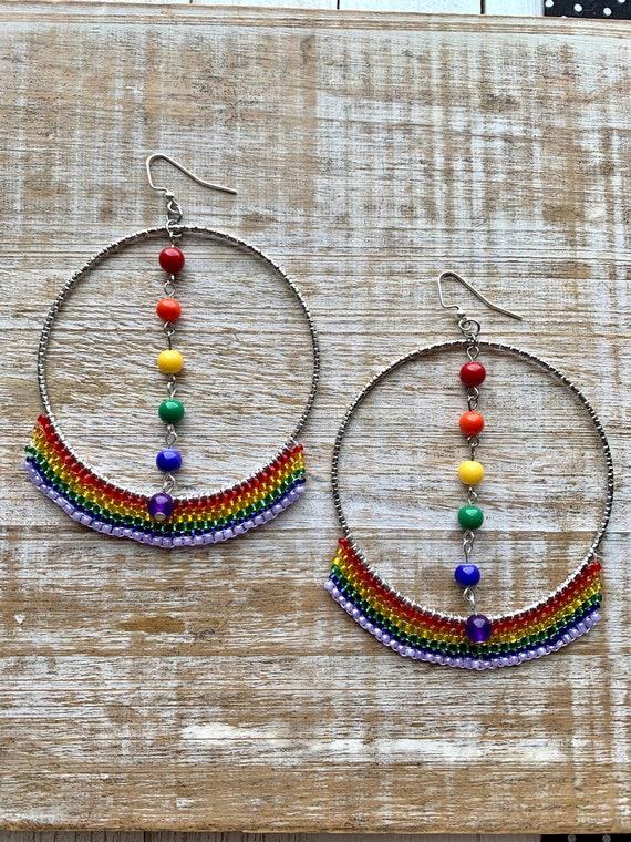 Rainbow pride earrings LGBTQ handmade crochet earrings Gay pride crochet earrings LGBTQ hoop| LGBTQ hoop earrings Rainbow earrings