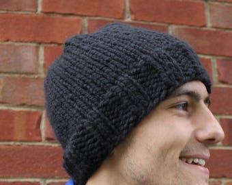 Handknit black hat