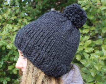 Handknit Black Pom Pom Hat