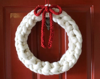 Handknit White Wreath with Red Bow