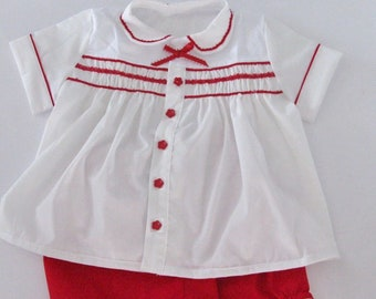 Handmade white and red Baby Girl outfit with bloomer. Base on one of the outfit used by prince George at one of the Royal family events.
