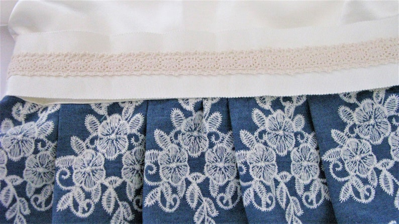 Conformable and Gorgeous ! Unique Ivory and blue Dress handmade with imported embroidery cotton