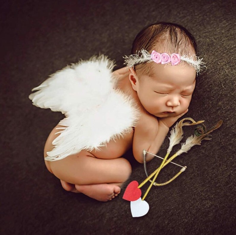 Baby Wings, Newborn Baby Lovely White Feather Angel Wings with Headband