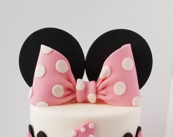 Edible Fondant Bow and Ears Cake Topper, Bow Topper.
