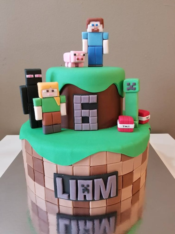 Minecraft Fondant Edible Cake Topper Set Etsy