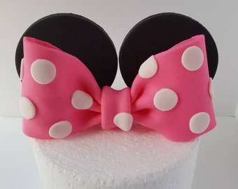 Edible Fondant Bow and Ears Cake Topper - Hot Pink