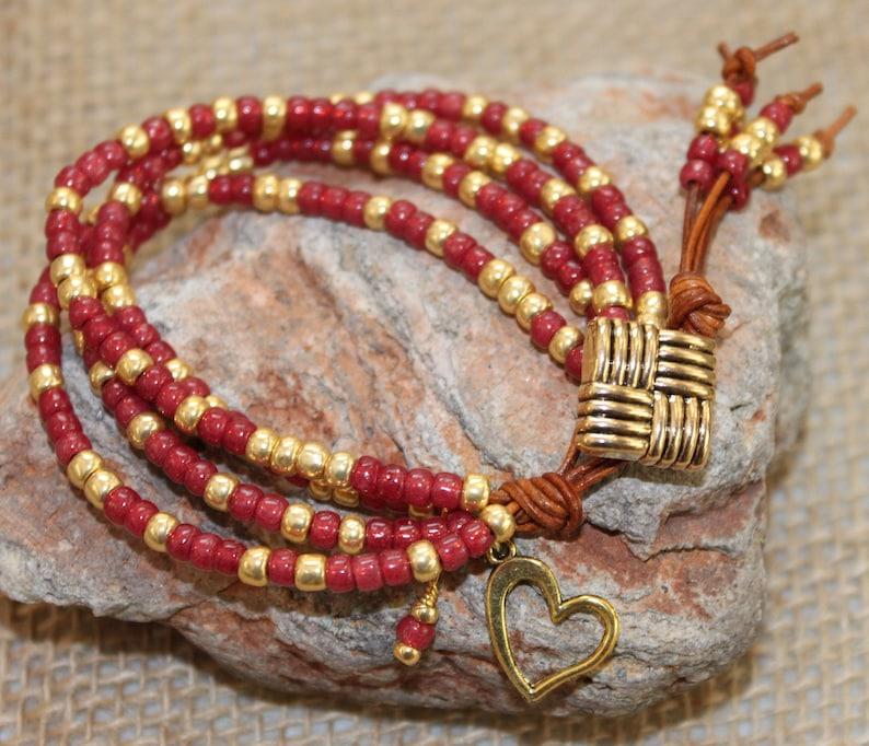 heart charm bracelet Boho. Sweetheart bracelet Beaded leather beaded Romatic style Girlfriend gift leather bracelet Raspberry color