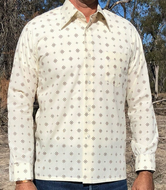 Vintage 1970s button down cream with brown pattern