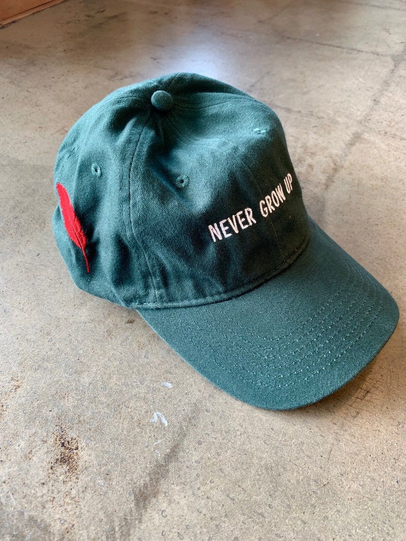 469f34ed24375 Never Grow Up Peter Pan Hat with Feather Green Hat Disney