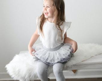 Tutu Leggings For Baby Girls Baby Set Of Cotton Leggings With Tutu Skirt Pink or Gray by Tutu Joli
