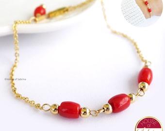 Dainty Italian Coral Trio Bracelet