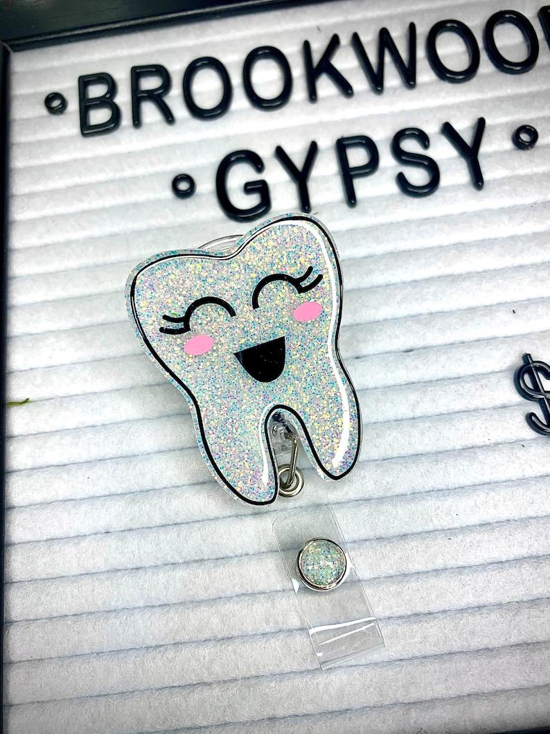 Tooth Badge Reel-Badge Reel-Glitter Badge Reel-Dental Badge Reel-Dental Hygeine-Dentist-Teeth Badge Reel-ID Holder-Badge Reel-Medical