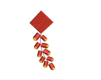 Mini Chinese New Year-Firecracker- Machine Embroidery Design-4 SIZES-Filled Stitch