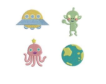 Mini Universe(alien,spacecraft,earth,octopus)- Machine Embroidery Design