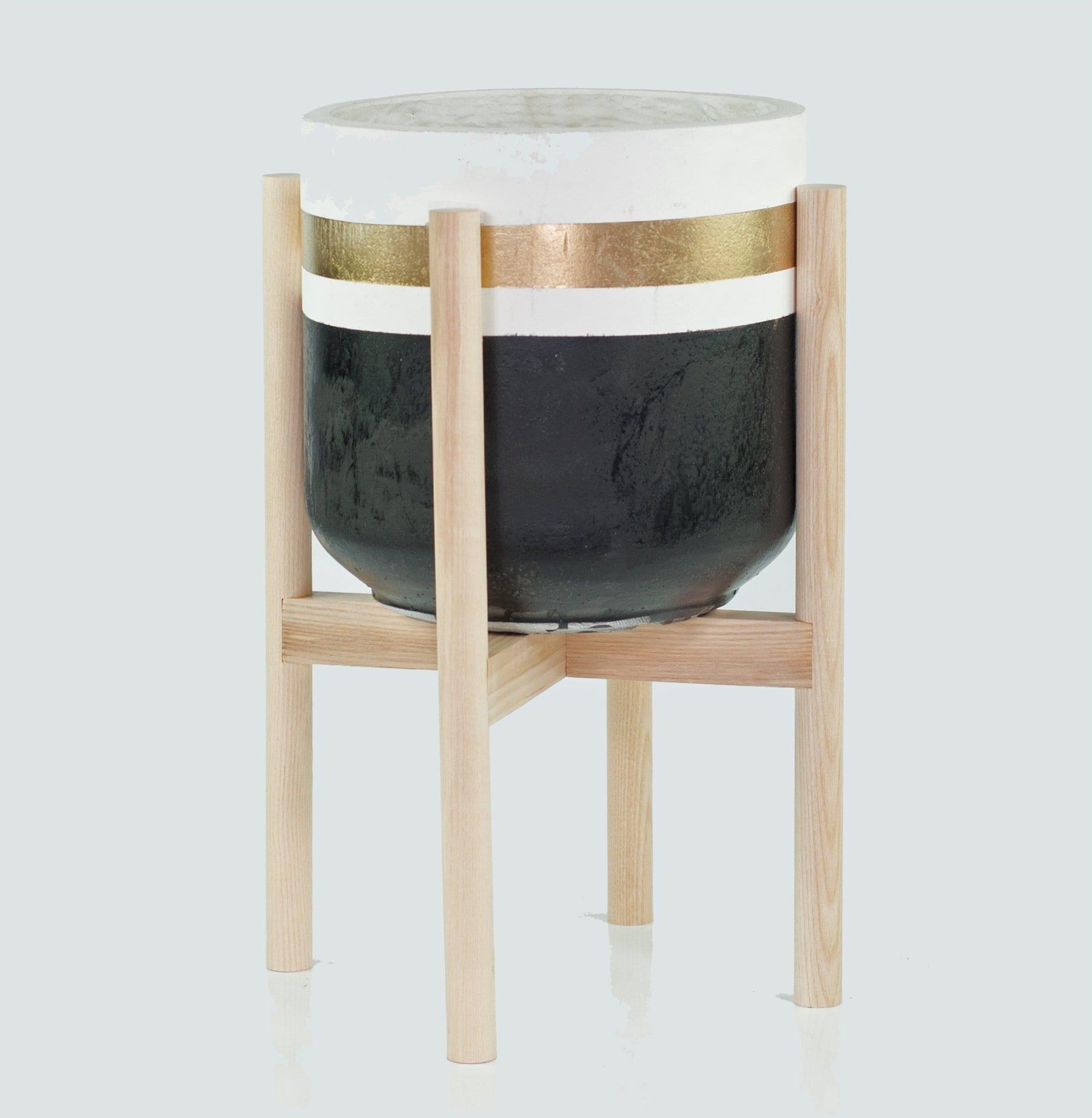 large mid century modern planter stand with pot large etsy. Black Bedroom Furniture Sets. Home Design Ideas
