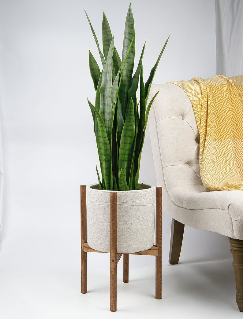 Mid Century Modern Plant Stand with Pot 10 ceramic planter Ivory Wood Plant Stand Planter with stand