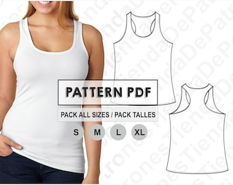 PATTERN Tank Top for Women, Women's Tank Top, Sewing Pattern, Digital, Pattern PDF, Pack Size S - XL, Instant Download