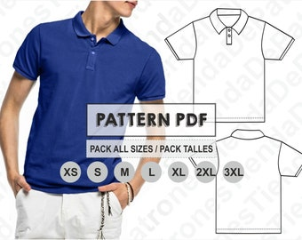 e7523fac PATTERN Polo Shirt for Men, Sewing Pattern, Digital, Pattern PDF, Pack Size  XS - 3XL, Instant Download
