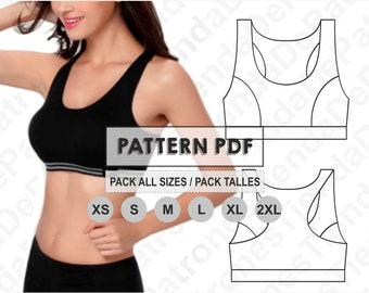 PATTERN Sport Bra Top Women, Women's Sport Bra Top, Sewing Pattern, Digital, Pattern PDF, Pack Size XS - 2XL, Instant Download