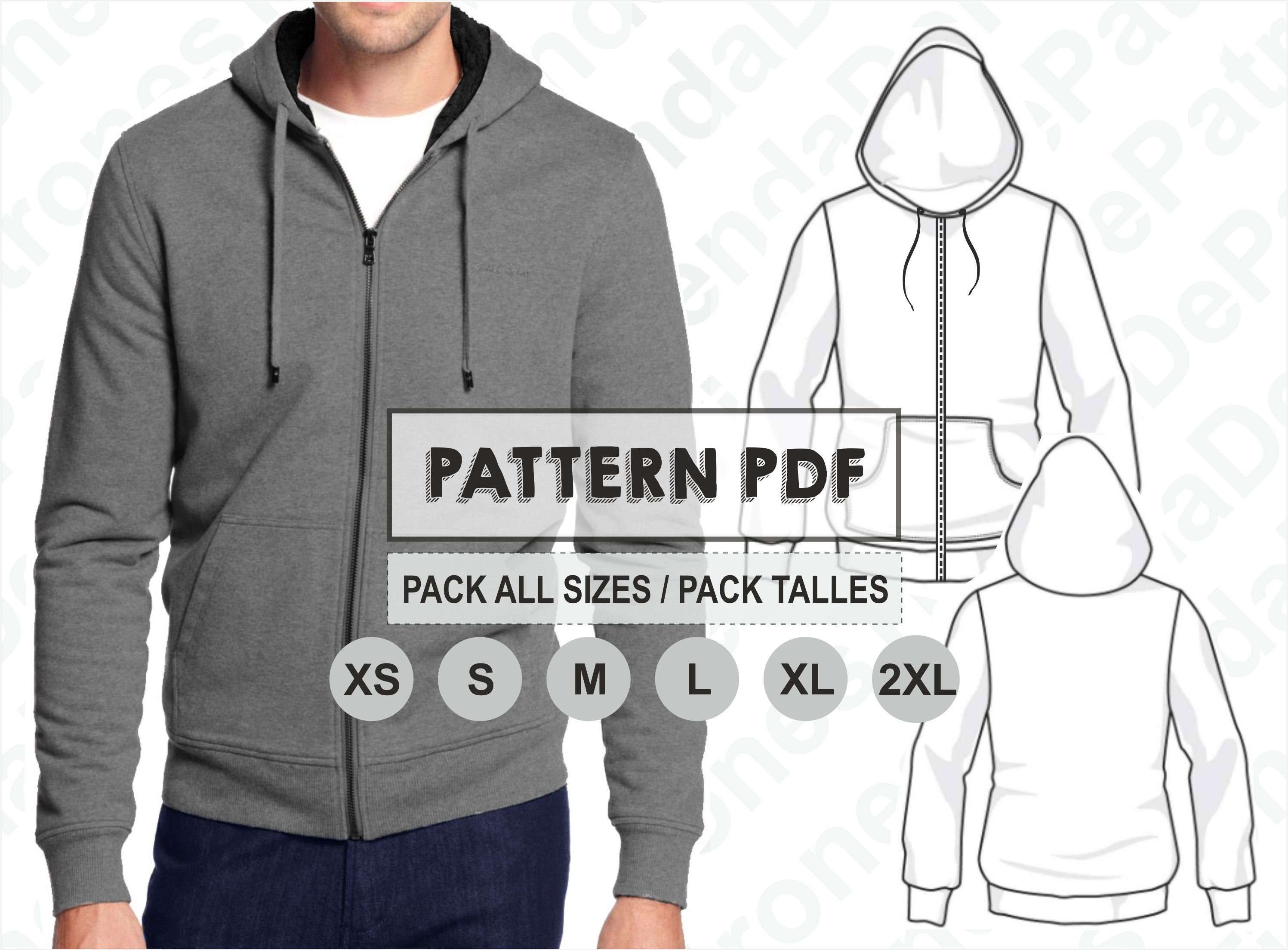 PATTERN Men\'s Hoodie Jacket Pattern Sewing Digital PDF | Etsy